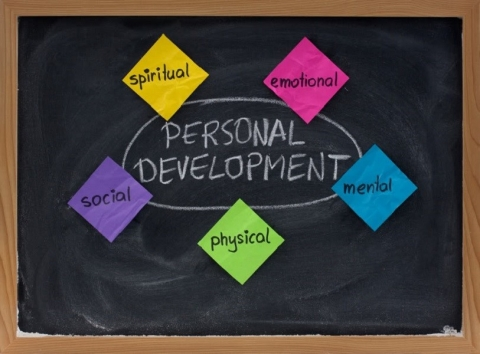 5 dimensions of personal development: spiritual, emotional, mental, physical, social -  concept on blackboard presented with colorful sticky notes and white chalk