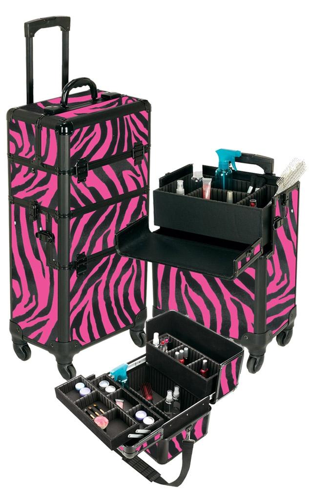 Pink Zebra Rolling Makeup Case