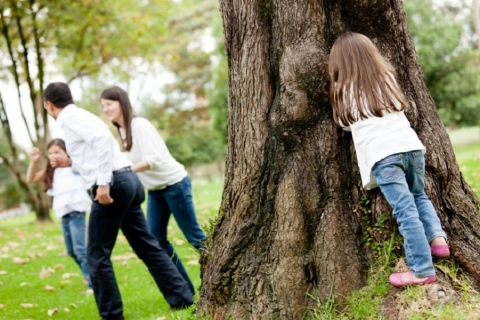 Family playing hide and seek